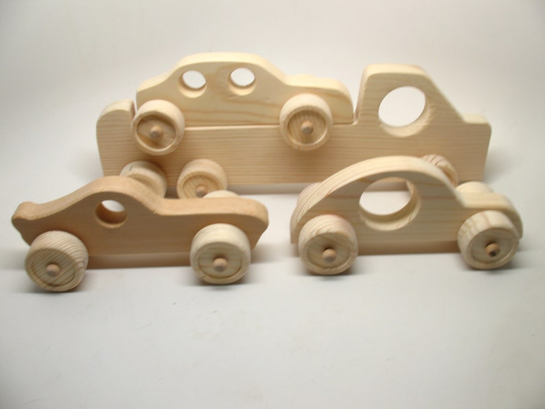 Wood Toy Cars Toy Truck Set 4pc Set New Stock 1114