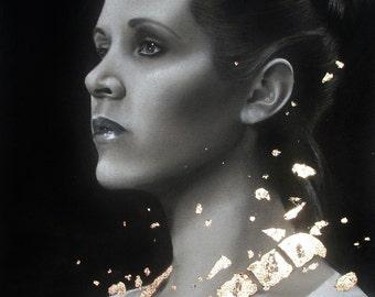 Carrie Fisher Prints - Multiple sizes - Princess Leia, Star Wars - Original charcoal portrait with Goldleaf - Print of original