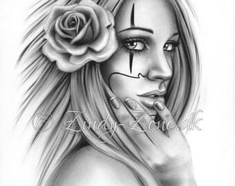 61d8269219fd4 Chicano Tattoo Clown Girl Art Print Glossy Emo Fantasy Girl Zindy Nielsen