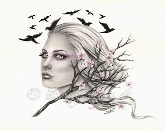 255298fb3fd20 Dreams Cherry Blossom Flying Birds Spring Art Print Glossy Emo Fantasy Girl  Zindy Nielsen