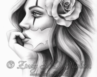 Heartbreaker Clemence Tatouage Clown Fille Carte A Jouer Coeur Etsy