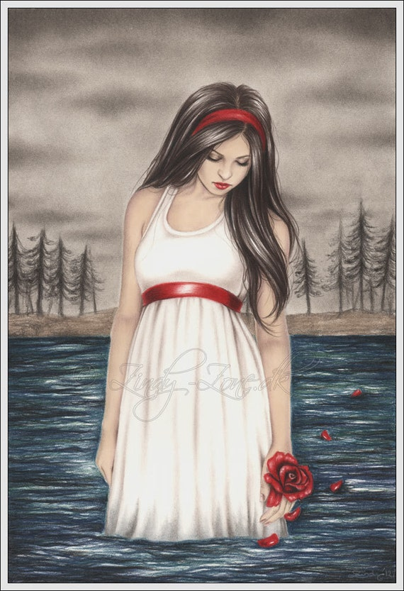 Letting go sea dark water rose girl emo goth flower art - Emo rose pictures ...