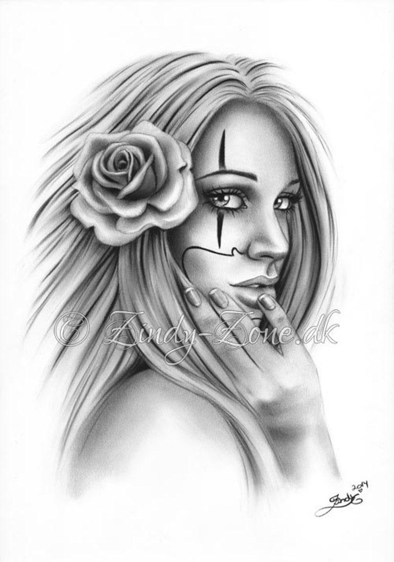 b0476d0ab071d Chicano Tattoo Clown Girl Art Print Glossy Emo Fantasy Girl | Etsy