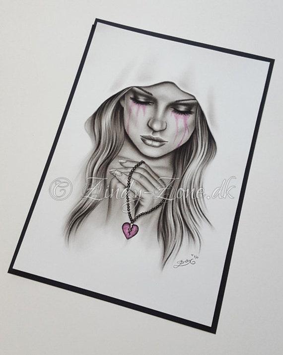 The Heartbroken Heart Necklace Sad Emo Girl Hood Tears Crying Etsy