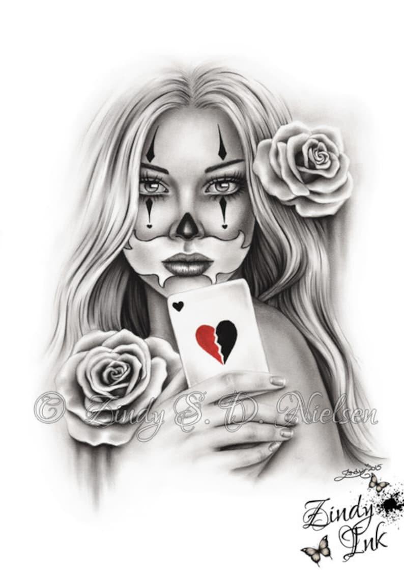 84f909256df74 HeartBreaker Chicano Tattoo Clown Girl Playing Card Rose Heart | Etsy