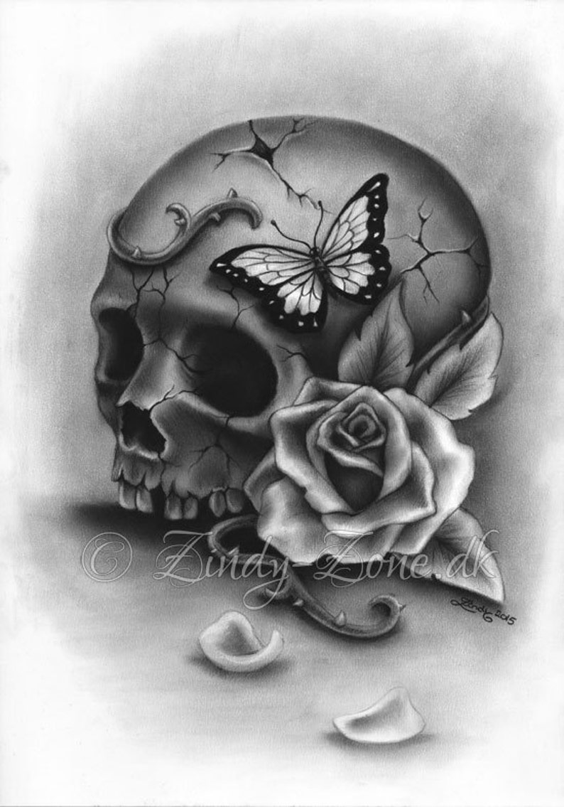 4718e9fef Beauty and Decay Skull Rose Butterfly Girl Tattoo Art Print | Etsy