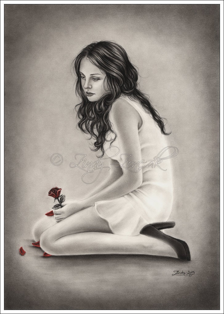 Forgotten roses girl emo red flower art print glossy zindy - Emo rose pictures ...