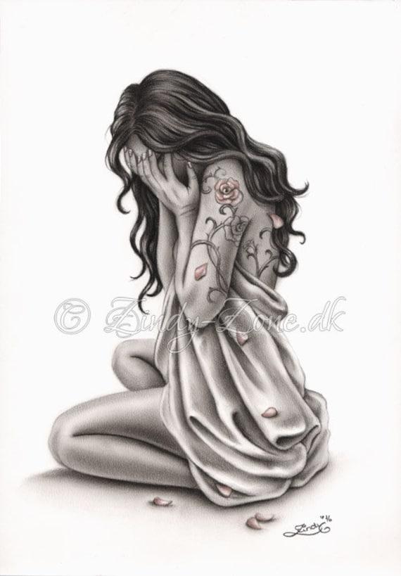 Petales De Tristesse Triste Pleure Femme Rose Tattoo Art Print Etsy