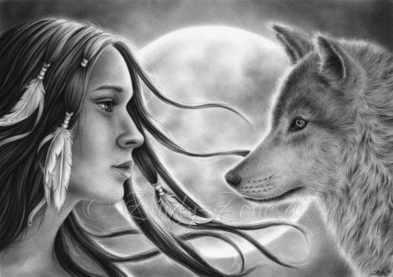 Crossing Spirits Moon Girl Native Indian Woman Wolf Emo