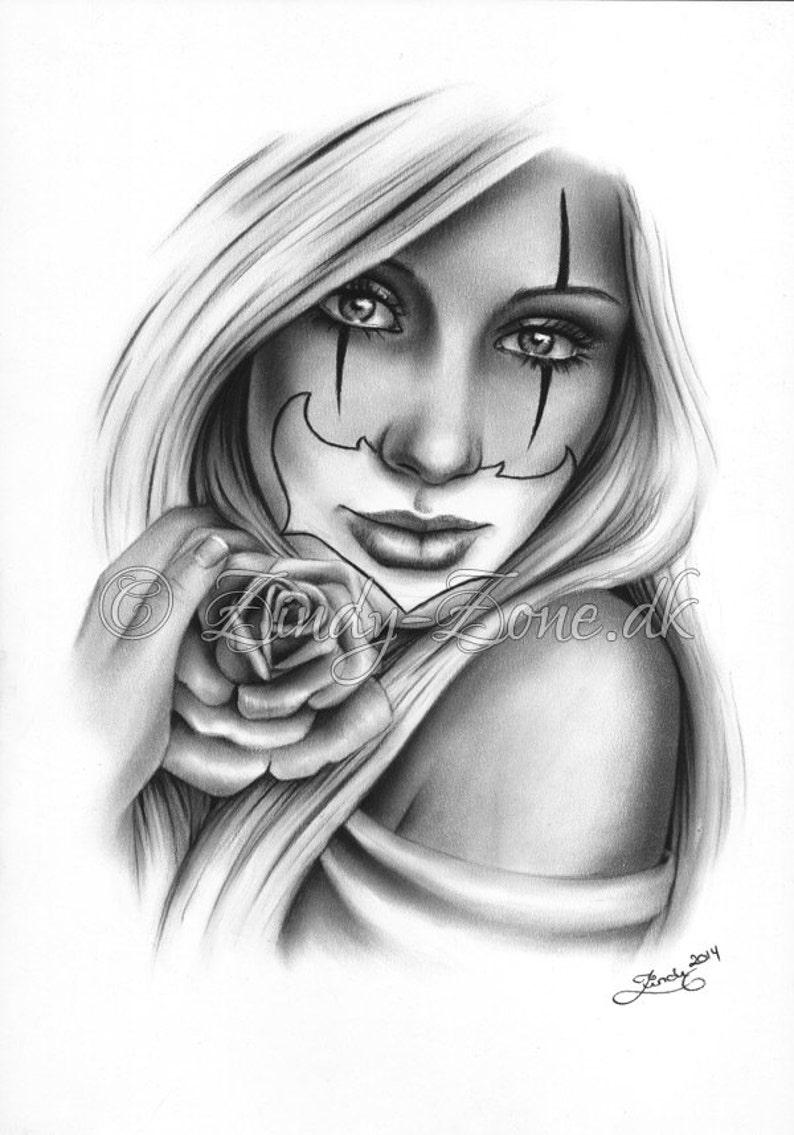 41aa596b5814f Sweet Chicano Tattoo Clown Girl Rose Art Print Glossy Emo | Etsy