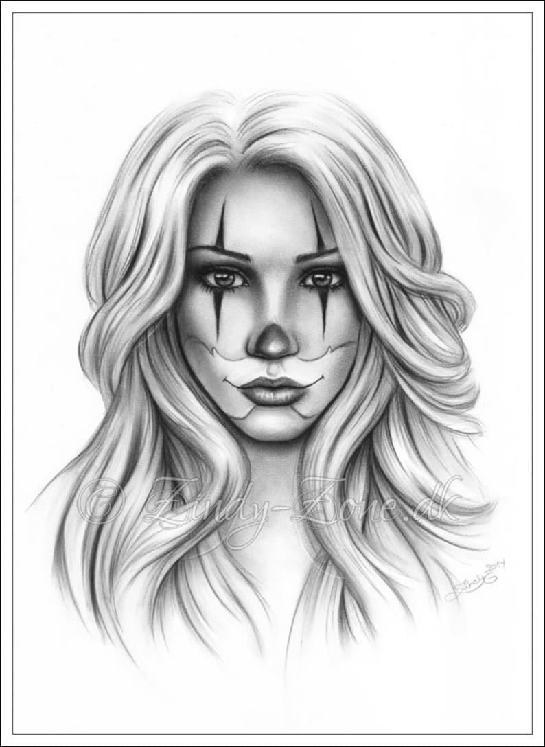 8cad8efee0119 Chicano Tattoo Clown Girl Art Print Glossy Emo Fantasy Girl | Etsy