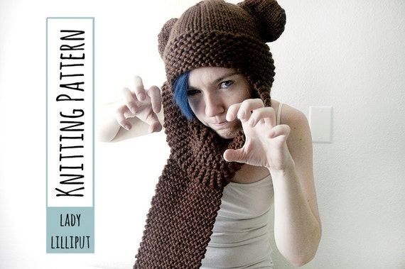 Pattern Knitted Bear Scarf Hatscoodie Etsy