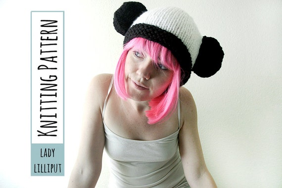 Pattern Knitted Panda Hat Etsy
