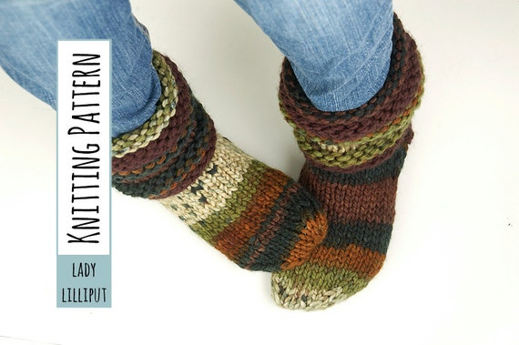 Pattern Knitted Slipper Socks Etsy