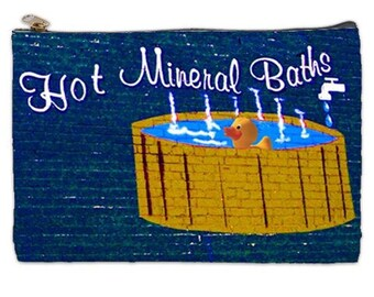 Hot Mineral Bath Time Cosmetic Bag, make up bag, cosmetic makeup bag, rubber ducky, Make up bag, bags and purses