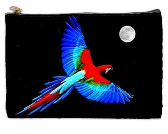 Parrot Cosmetic Bag, red, blue parrot, full moon, tropical cosmetic makeup bag, parrot makeup bag, parrot cosmetic makeup bag