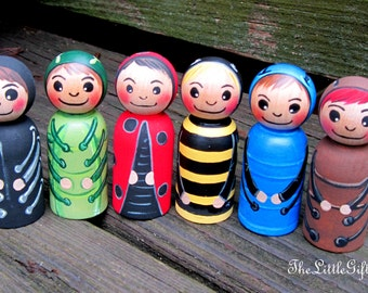 Little Bugs / Wood Peg Doll / Creative Play / Woodland Creature toys