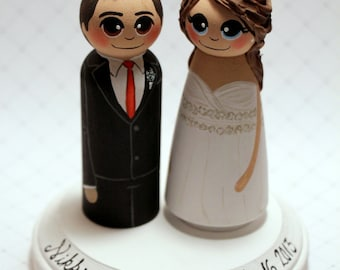 Wedding Cake Topper / Custom Painted Wood Peg Dolls with Plaque / Tall Groom/ 3D hair