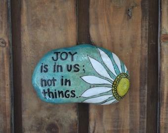 Joy Quote Stone, ArtRock, Painted Stone, Painted Rocks, ArtRocks, Daisy art