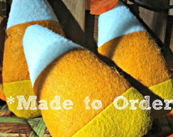 MADE UPON ORDER - Candy Corn Blanks (3) - Wool Felt Bowl Filler - Fall Autumn Decor - Halloween - Harvest - Unfinished - Inspiration - dyi