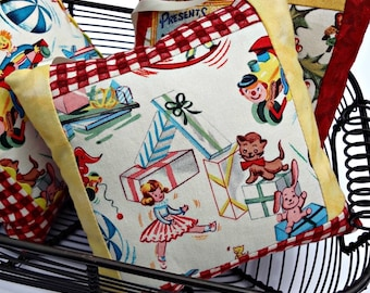 Doorknob Pillow - Christmas Decor - Retro - Vintage - Doll Cat Train Presents Toys - Red White Plaid - Door Handle Accent Christmas in July