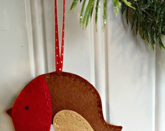 Red Robin Bird Felt Ornament - Christmas Tree Decor - Holiday Accent - Winter - Nature - Woodland - Country - Handstitched Christmas in July
