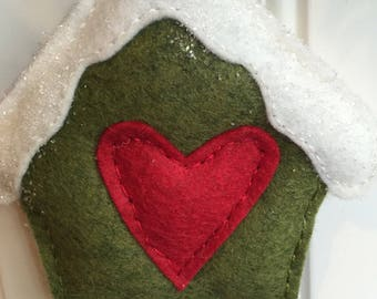 Birdhouse Cottage Wool Felt Ornament - Christmas Winter - Snowy - Heart - Nature - Woodland - Rustic - Country - Handsewn Christmas in July