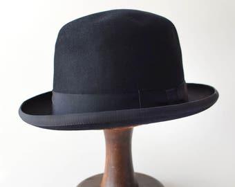 24b184ec5d4 Vintage Black Bowler Derby Mens Hat Mallory Crevenette 7 1 2