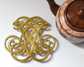 Vintage Brass Trivet Thomas Jefferson Monogram Monticello Cipher Teapot Stand