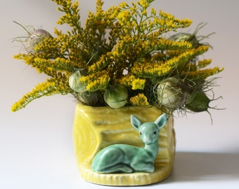 Vintage Woodland Planter Vase Sylvac Fawn Deer Figurine