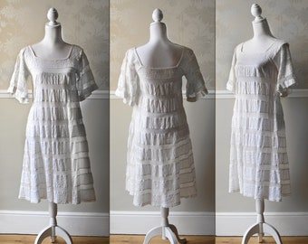 Vintage White Cotton Dress Tachi Castillo Mexican Wedding Petite UK 8