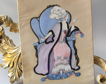 Vintage Fashion Illustration Hand Painted French Rococo George Barbier Style Portrait Anonymous