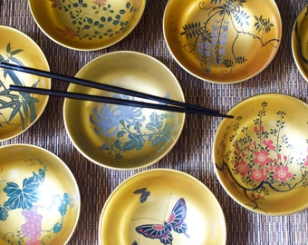 Vintage Asian Rice Bowl Japanese Hand Painted Lacquer