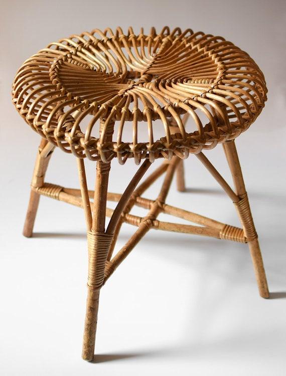 Vintage Franco Albini Design wickerwork tabouret Rotin