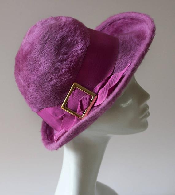 Vintage Mod Purple Trilby Hat Jacoll England  4fc9012dd46
