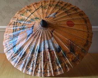 Vintage Japanese Parasol Hand Painted Cranes