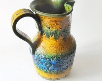Vintage Bitossi Rimini Blue Orange Pitcher Vase Italy 728