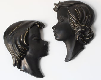 Vintage Chalkware Wall Masks Kitsch Woman Profile Duron 0119 1119