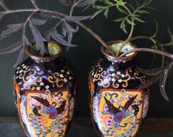Vintage Cloisonne Vases Set of Two Bird and Floral Decoration