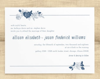 Linear Floral navy wedding invitation suite; fonts, color and wording customizable; SAMPLE ONLY