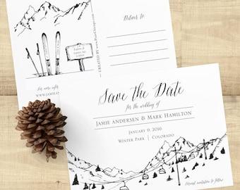 Ski Lift Postcard Save the Date, Mountain Wedding, Ski Lift Sketch, Gondola Sketch, Mountain Wedding Invitations, Custom Samples