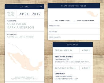 "Boarding Pass destination wedding invitation ticket, ""Let's Take Flight"", completely customizable; SAMPLE ONLY"