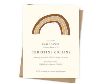 Rainbow Boho Baby Shower Invitations with patterned envelope liners, includes return address printing