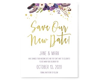 Wedding Change Save the Date cards, Gold Floral Boho Theme, Faux Gold Foil; A2 envelopes included