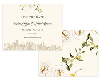 "New York Skyline Save The Date, ""Flower Bar Skyline"", Save The Date Sample, Custom Wedding Sample"