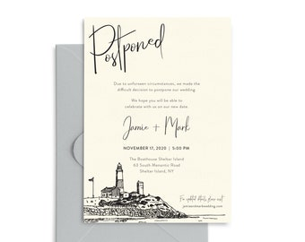 """Postponed Wedding Date Announcements, Montauk Lighthouse, includes envelopes and return address printing, 5x7"""" cards"""