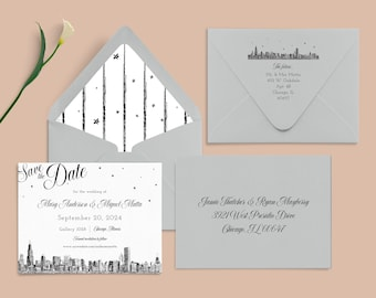 """Chicago Skyline Save the Date, """"Diagonal Skyline"""", customizable, listing is for SAMPLE ONLY"""
