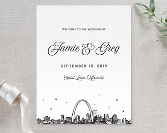 """Welcome sign for weddings, luncheons, etc., St. Louis skyline, available in 5x7"""" or 8x10"""""""