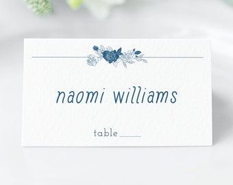 Linear Floral navy wedding place cards