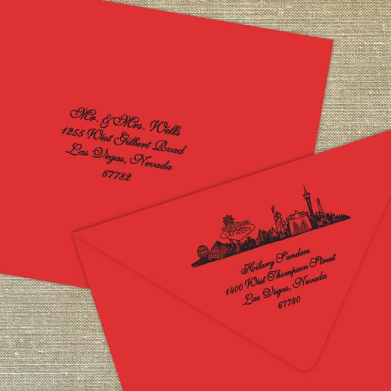 set of 25 cards Las Vegas Sign Skyline Rehearsal Dinner Invitations